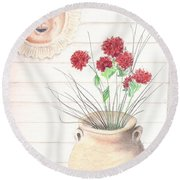 Clay Pot Round Beach Towel