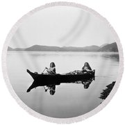 Clayoquot Canoe, C1910 Round Beach Towel