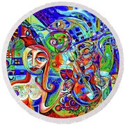 City At Night Music And Wine Abstract Round Beach Towel