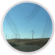 Clean Energy On The Open Road Round Beach Towel
