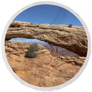 Clear Day At Mesa Arch - Canyonlands National Park Round Beach Towel
