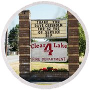 Clear Lake Fire Department Round Beach Towel