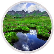 Clear Lake Reflections Round Beach Towel