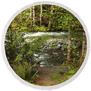 Clear Mountain Stream Round Beach Towel