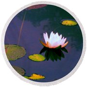 Clear Reflections Lotus Round Beach Towel