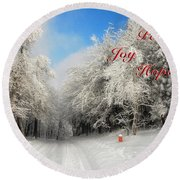 Clearing Skies Christmas Card Round Beach Towel
