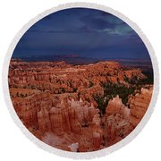 Clearing Storm Over The Hoodoos Bryce Canyon National Park Round Beach Towel by Dave Welling