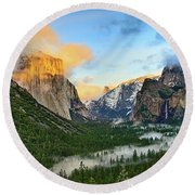 Clearing Storm - View Of Yosemite National Park From Tunnel View. Round Beach Towel