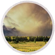 Clearing Summer Storm Grand Tetons National Park Round Beach Towel