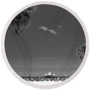 Clearwater Beach Bw Round Beach Towel