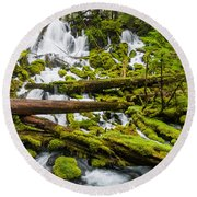 Clearwater Falls And Rapids Round Beach Towel