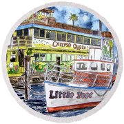 Clearwater Florida Boat Painting Round Beach Towel