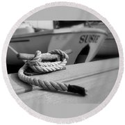 Cleat Hitch Boat Art Round Beach Towel