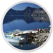 Cleetwood Cove Tour Boat Visitors, Crater Lake National Park, Oregon Round Beach Towel