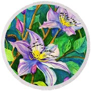 Clematis For Elsie Round Beach Towel