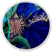 Clematis Regal In Purple And Blue Sold Round Beach Towel