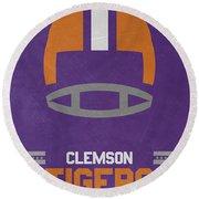 Clemson Tigers Vintage Football Art Round Beach Towel