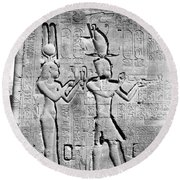 Cleopatra And Caesarion, Temple Round Beach Towel