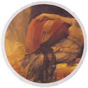 Cleopatra Preparatory Study For Cleopatra Testing Poisons On The Condemned Prisoners Round Beach Towel