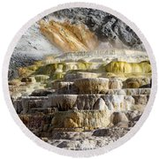 Cleopatra Terrace In Yellowstone National Park Round Beach Towel