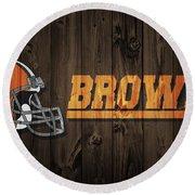 Cleveland Browns Barn Door Round Beach Towel