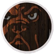 Cleveland Browns Wood Fence Round Beach Towel