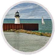 Cleveland Harbor Small Lighthouse Round Beach Towel