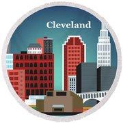 Cleveland Ohio Horizontal Skyline Round Beach Towel