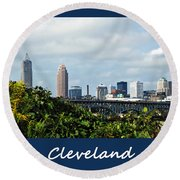 Cleveland Poster Round Beach Towel