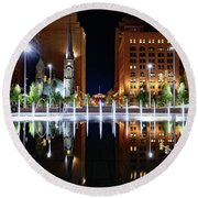 Cleveland Public Square Fountains Round Beach Towel