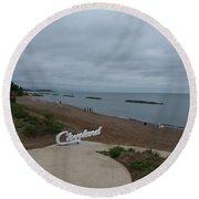 Cleveland Sign Round Beach Towel