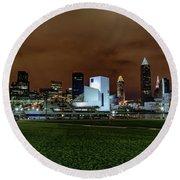 Cleveland Skyline At Night Round Beach Towel