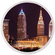 Cleveland Skyline Night Color - Downtown Buildings Round Beach Towel