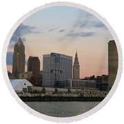 Cleveland Skyline And Port On The Cuyahoga River Round Beach Towel