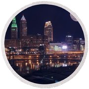 Cleveland With Full Moon Round Beach Towel