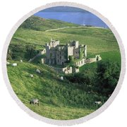 Clifden Castle, Co Galway, Ireland 19th Round Beach Towel
