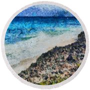 Cliff And Water Round Beach Towel