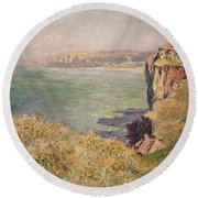Cliff At Varengeville Round Beach Towel