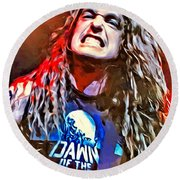 Cliff Burton Portrait Round Beach Towel