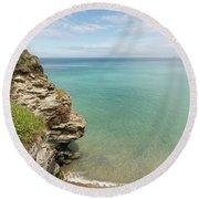 Cliff Edge At St Agnes Round Beach Towel