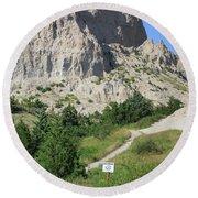 Cliff Shelf Trail In Badlands National Park South Dakota Round Beach Towel
