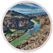 Cliff View Of Big Bend Texas National Park And Rio Grande  Round Beach Towel