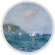 Cliffs And Sailboats At Pourville  Round Beach Towel