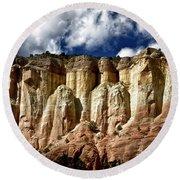 Cliffs At Echo Amphitheater Round Beach Towel