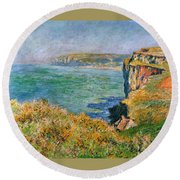 Cliffs Near Pourville Round Beach Towel