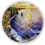 Cliffs Of Moher At Sunset Round Beach Towel
