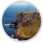 Cliffs Of Moher Ireland View Of Aill Na Searrach Round Beach Towel