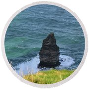 Cliff's Of Moher Needle Rock Formation In Ireland Round Beach Towel