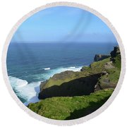 Cliff's Of Moher With White Water At The Base In Ireland Round Beach Towel