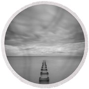 Cliffwood Sea Wall Vertical  Bw Round Beach Towel